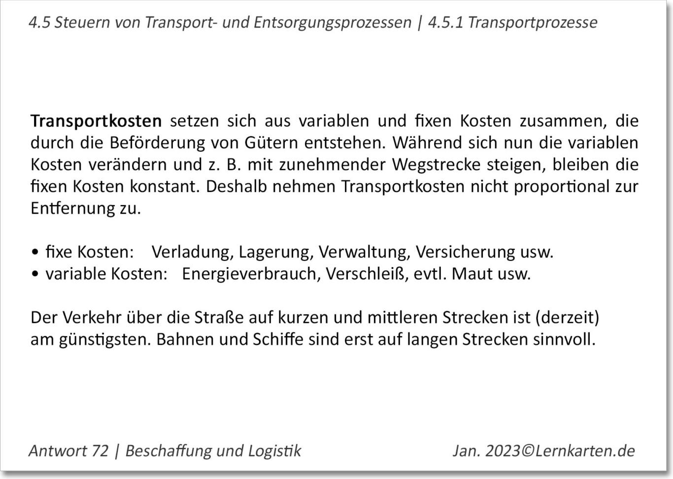Beschaffung Lernkarte Beispiel Handelsfachwirt IHK Antwort Transportkosten