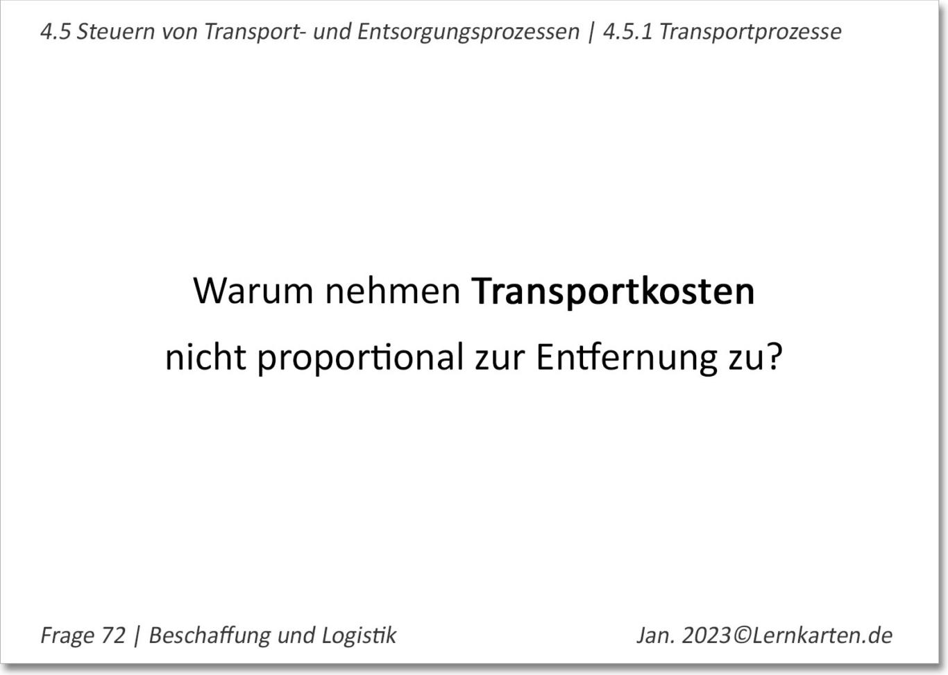 Beschaffung Lernkarte Beispiel Handelsfachwirt IHK Frage Transportkosten