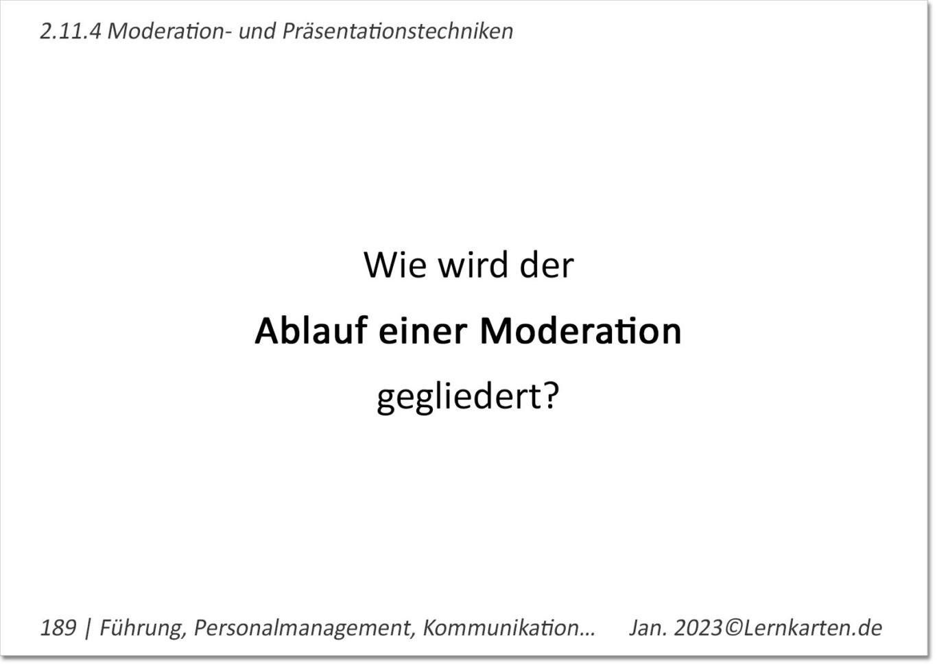 Führung und Personalmanagement Lernkarte Beispiel Handelsfachwirt IHK Frage Moderationszyklus