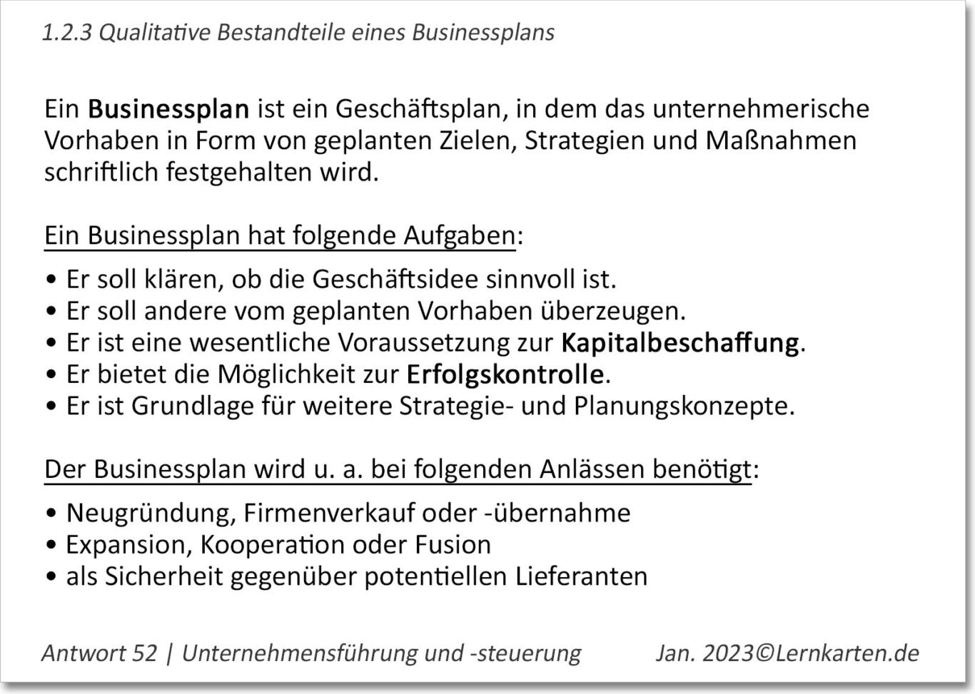 Businessplan Lernkarte Beispiel Handelsfachwirt IHK Antwort